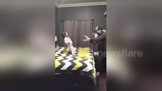 Father practices funny illusion trick with 'assistant' daughter, aged 3