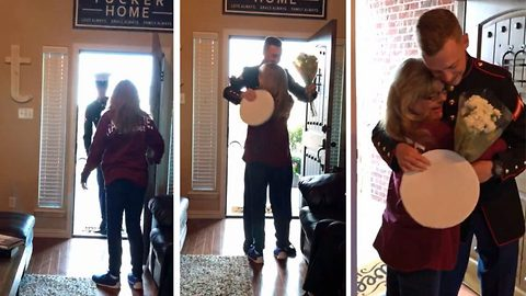 Adorable moment marine flies home nine months early to surprise mom on her birthday