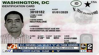 D.C. drivers can now identify as gender-neutral on licenses - Video