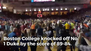 Boston College Storms The Court After Knocking Off No. 1 Duke - Video