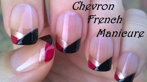 No tool chevron French manicure tutorial