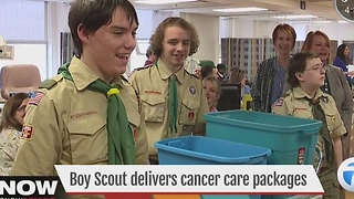 Boy Scouts deliver cancer care packages - Video