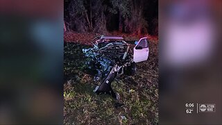 Deputy removes driver from burning vehicle after head-on crash in Hernando County