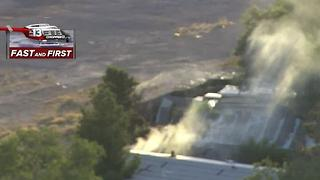 mobile home fire near Nellis, Gowan - Video