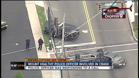 Chopper 9 Video: Police cruiser collides with car at Mount Healthy intersection