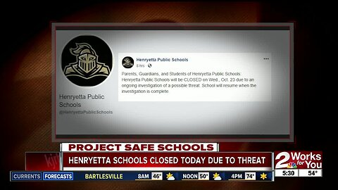 Henryetta Public Schools closed on Wednesday following ongoing investigation on alleged threat