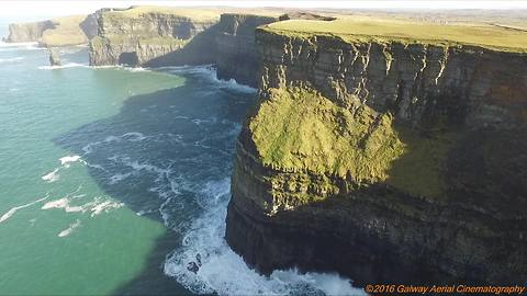 Breathtaking aerial footage of World Famous Cliffs of Moher
