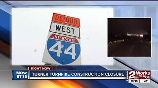 TRAFFIC ALERT: Westbound Turner Turnpike closed overnight