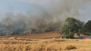 Fire Burns Through Fields Next to Drusillas Zoo Park in East Sussex - Video