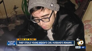 Thief steals young widow's car, husband's remains