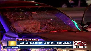 Two cars collide at 81st Mingo in South Tulsa - Video