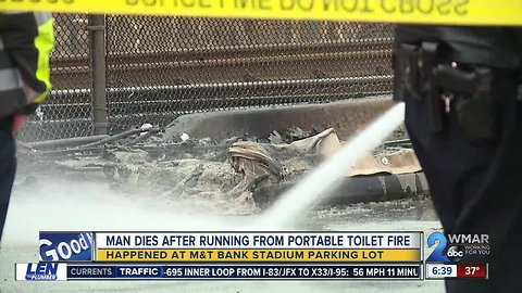 Man dead after portable bathroom fire outside Ravens Stadium