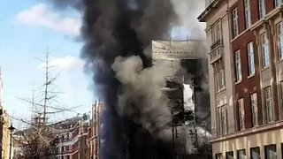 Fire Engulfs a Building on Portland Street Near the BBC in London - Video