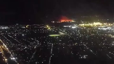 Kurnell Bushfire Seen From Plane Landing at Sydney Airport