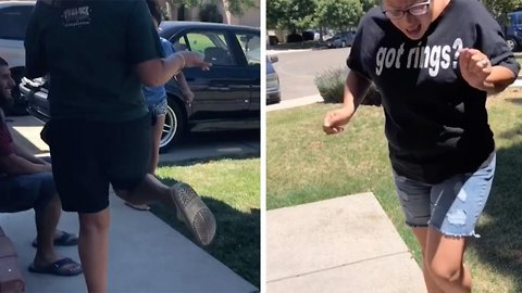 Hilarious compilation showing daughter make mum jump with firecrackers
