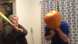 Idiot Gets Pumpkin Stuck on his Head