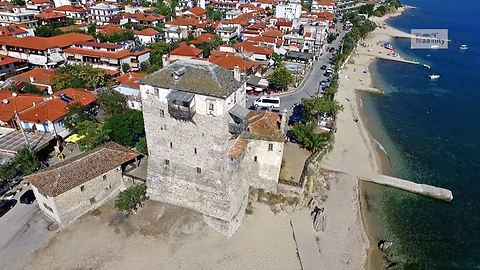 Drone Captures Gate To The Holy Mount Athos In Greece