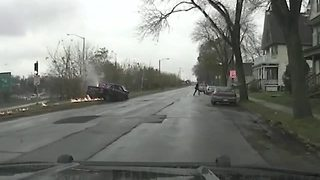 Dashcam video shows chase, fiery crash - Video