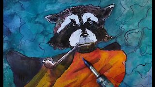 Drawing a raccoon with a pipe