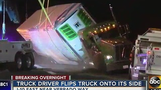 Truck driver flips truck near I-10 eastbound at Verado Way - Video