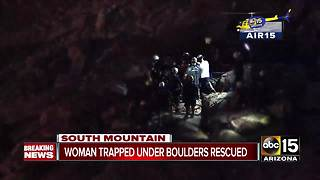 Phoenix fire crews rescue hiker trapped under boulders - Video