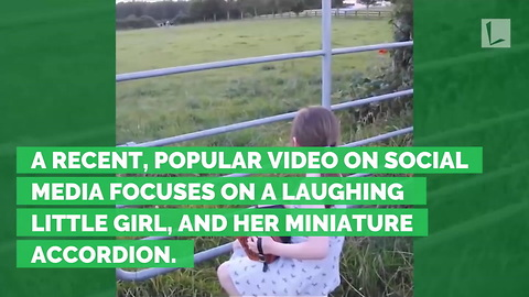 Watch Who Sprints Across Field After Girl Pumps Tune On Mini-Accordion