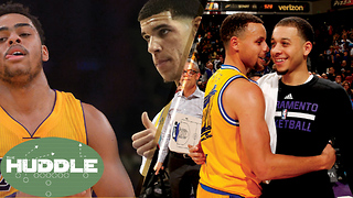 D'Angelo Russell SHADES Lonzo Ball, Seth vs Steph Curry -The Huddle - Video
