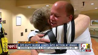 Off-duty nurse saves a woman experiencing a heart attack at bingo hall - Video