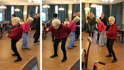 Grooving 87-year-old grandma proves you're never too old to bust a move, as she throws it down on the dance floor during assisted living resident's disco