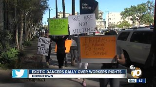 Exotic dancers rally over workers' rights