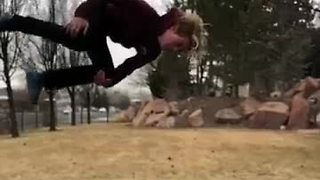 Super Cool Trampoline Backflip Caught In Slow Motion   - Video