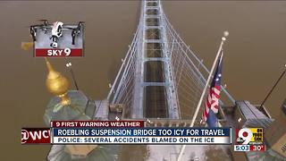 Roebling Suspension Bridge closed due to ice