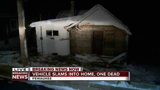 1 person dead after car slams into Pewaukee home - Video