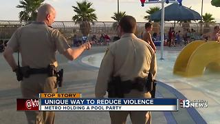 Las Vegas police hold pool party to ease tensions in community - Video