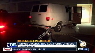 Driver crashes into Ocean Beach CVS, fights San Diego police officers