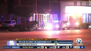 2 cars severely damaged on Okeechobee Boulevard