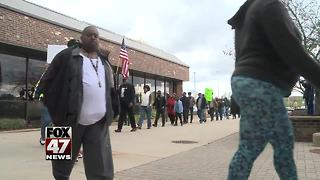 Protest group marches at MSP headquarters in Dimondale - Video