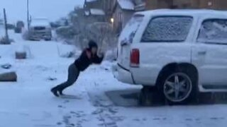 Snowball fight ends with extremely painful fall