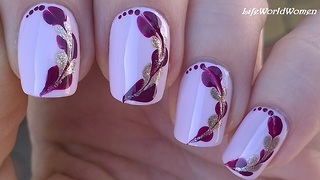 Quick toothpick nail art over lavender base - Video