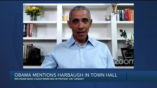 "President Barack Obama says Jim Harbaugh has ""been on the right side of this issue"""