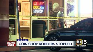 Coin Shop robbers stopped by Phoenix business owner - Video