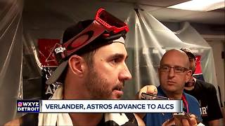 Justin Verlander celebrates ALDS win in Astros champagne party - Video