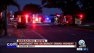Fire at apartment in Riviera Beach - Video