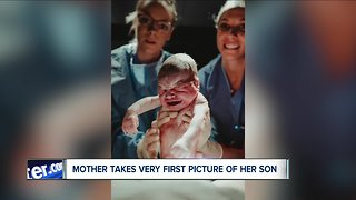 Hamburg mother captures son's birth during childbirth