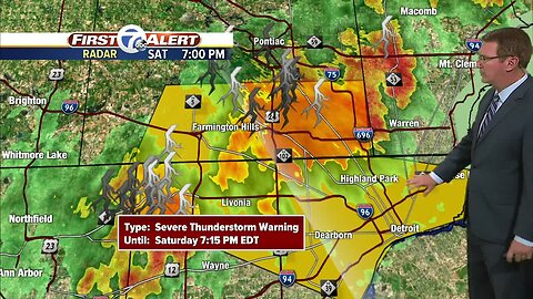 Severe thunderstorm warning issued for counties, including Oakland Co., Livingston Co., and St. Clair