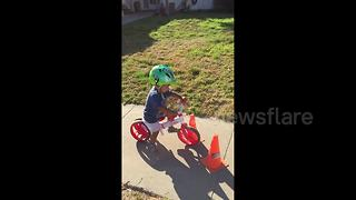 Toddler in learning-to-ride bike fail - Video