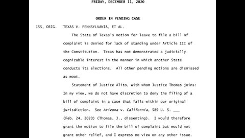 SCOTUS Denies Hearing Texas Election Case on Standing Issues - What's Next?