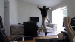 Man's Attempt to Jump Over Lamp Doesn't Go As Planned - Video