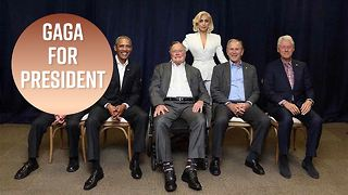 Lady Gaga hangs out with five former US presidents - Video