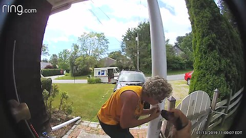 Mail Carrier Greets Dog In Sweet Security Footage
